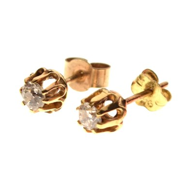 Lot 30 - Pair of 9ct gold and diamond ear studs