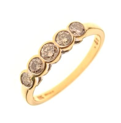Lot 1 - 18ct gold five-stone diamond ring