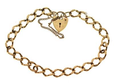 Lot 44 - 9ct gold curb-link charm bracelet