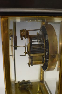 Lot French lacquered and anodised brass four-glass mantel clock