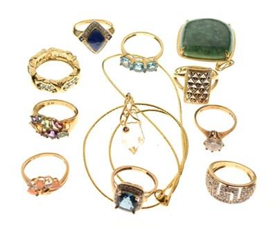 Lot 22 - Group of 9ct gold gem-set rings