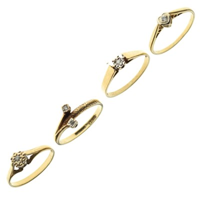Lot 19 - Four 9ct gold dress rings