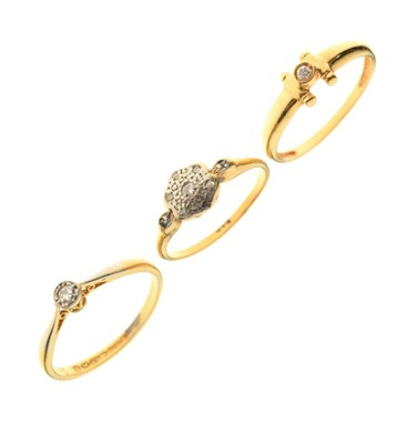 Lot 15 - Three diamond set rings