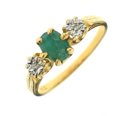 Lot 6 - 18ct gold, emerald and diamond three-stone ring