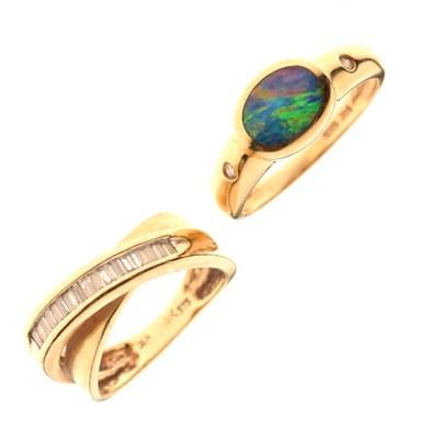 Lot 13 - Dress ring set baguette cut diamonds