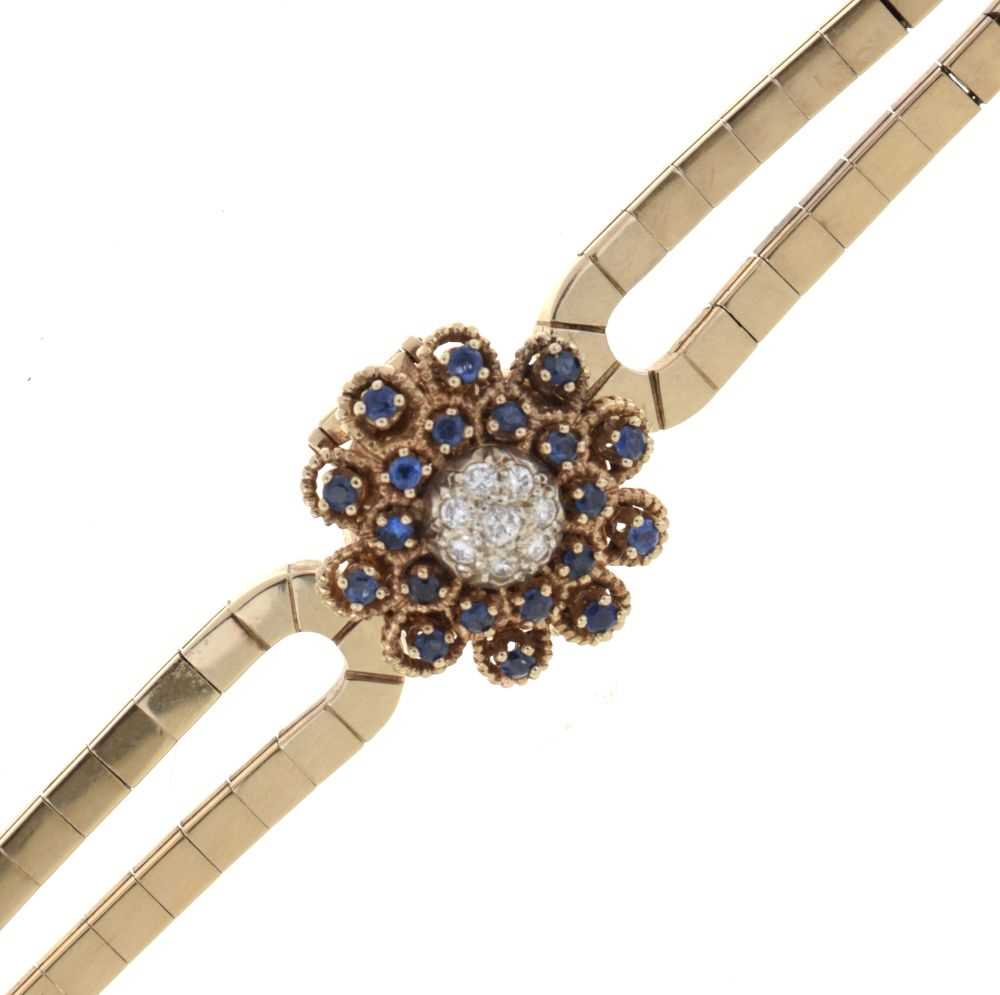 Lot Tourneau lady's 1950's diamond and sapphire set bracelet watch