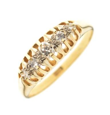 Lot 26 - Yellow metal '15ct' five-stone diamond ring
