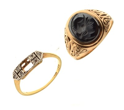 Lot 10 - 9ct gold signet ring and a yellow metal ring