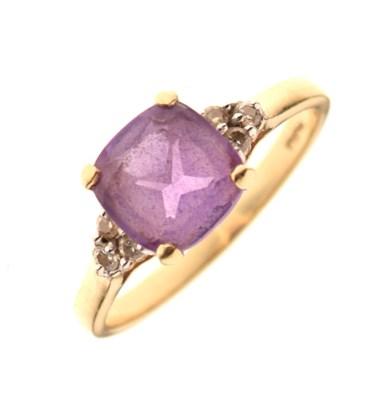 Lot 12 - 9ct gold, amethyst and diamond dress ring