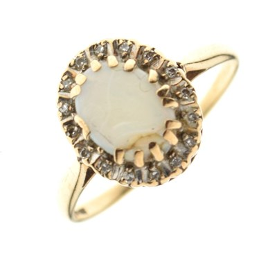 Lot 5 - 9ct opal and diamond cluster ring