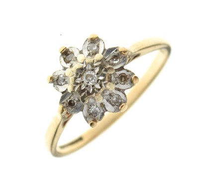 Lot 2 - 9ct gold diamond cluster ring