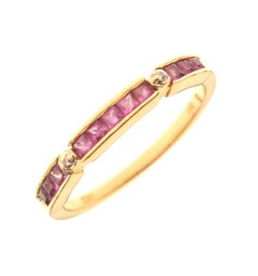Lot 18 - Ruby and diamond half-hoop ring