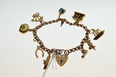 Lot 44 - 9ct rose gold charm bracelet