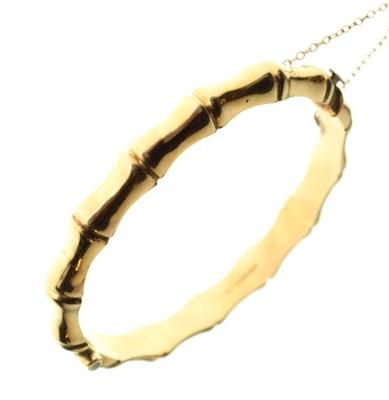 Lot 46 - 9ct gold bamboo hinged bangle