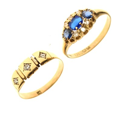 Lot 20 - 18ct three-stone diamond ring, size Q, and a 18ct gold ring set paste, sapphires and diamonds