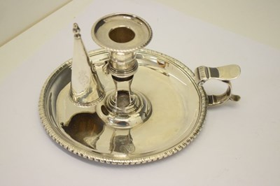 Lot George III silver chamberstick of circular form with beaded rim and scroll handle