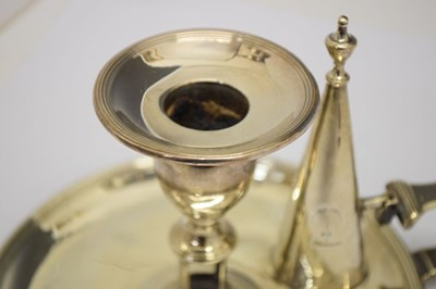 Lot George III silver chamberstick of circular form with reeded border and scroll handle