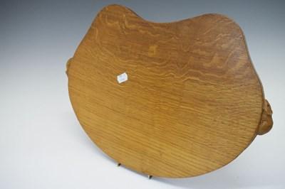 Lot Workshop of Robert 'Mouseman' Thompson, late 20th Century English oak kidney-shaped tray