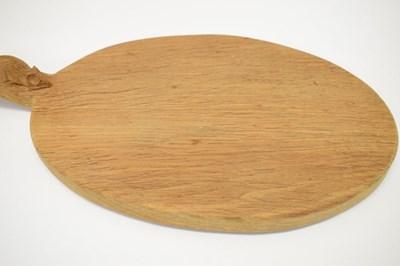 Lot Workshop of Robert 'Mouseman' Thompson, late 20th Century English oak oval cheese board