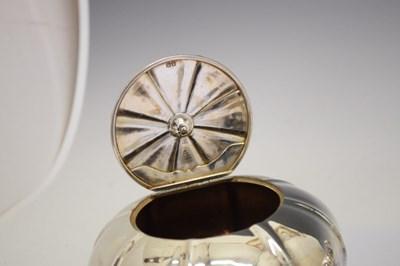 Lot George IV silver three-piece silver tea set of melon-shaped form