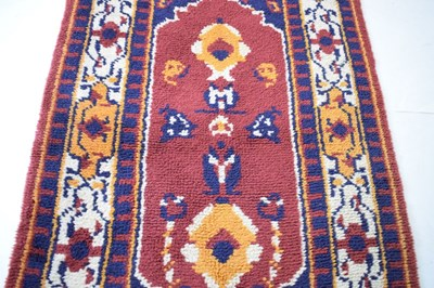 Lot 369 - Rag rug, having red, blue and cream ground