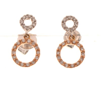 Lot 62 - 18ct two-colour gold and diamond circle drop earrings