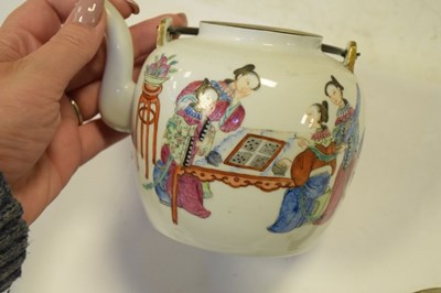 Lot 340 - Chinese Canton famille rose teapot or wine pot, etc.