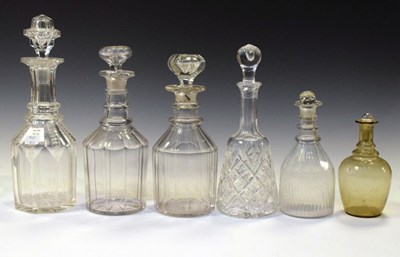 Lot 337 - Six 19th century and later assorted glass decanters