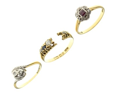 Lot 26 - Three 18ct gold diamond and gem set dress rings