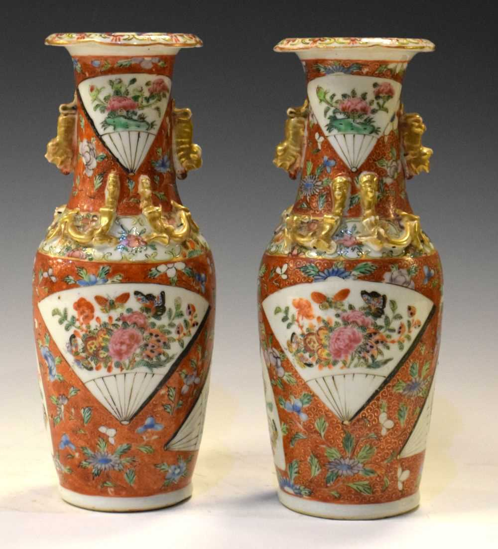 Lot 364 - Pair of early 20th Century Chinese Famille Rose vases