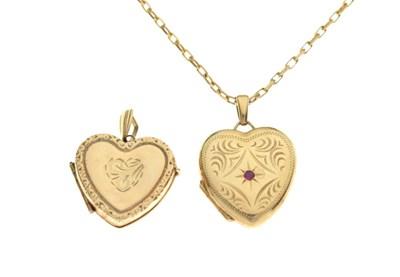 Lot 85 - Two heart shaped lockets