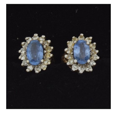 Lot 64 - Pair of 9ct gold cluster stud earrings