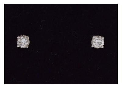 Lot 66 - Platinum diamond single stone stud earrings