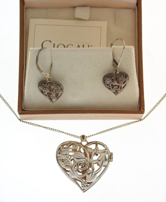 Lot 57 - Clogau Welsh silver and 9ct gold fairy locket and chain & earrings