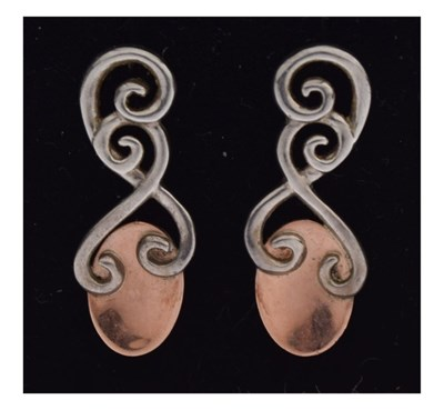 Lot 63 - Pair of Clogau Welsh silver and rose gold love spoon earrings