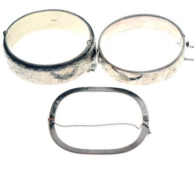 Lot 42 - Three silver bangles