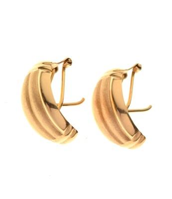Lot 61 - Pair of yellow metal half hoop stud earrings, 750, 4.1g