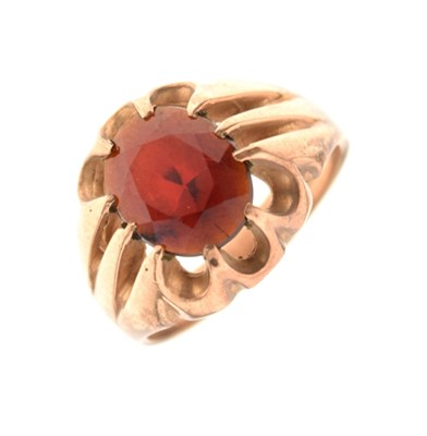 Lot 11 - Gentleman's 9ct gold dress ring set faceted red stone, 7.2 g